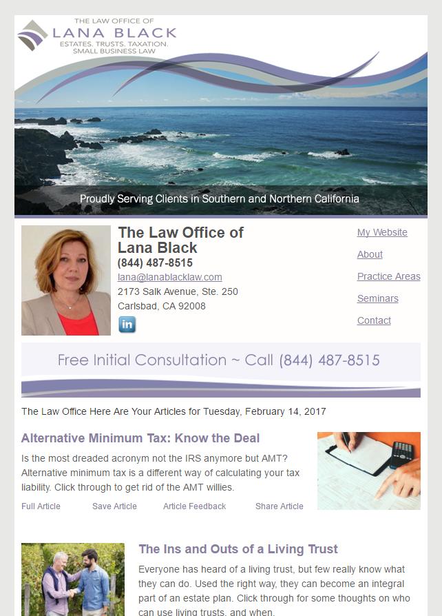Legal Estate Planning Marketing Newsletter Example