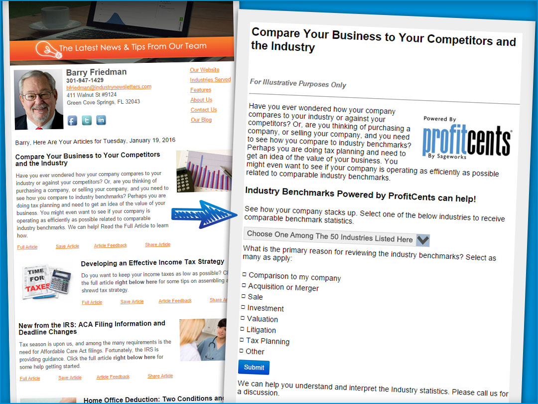 IndustryNewsletters CPA Firm Email Newsletter Integration With Sageworks ProfitCents Industry Benchmark Reports Example