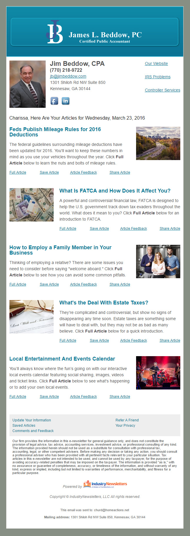 View a Sample CPA Email Newsletter – IndustryNewsletters