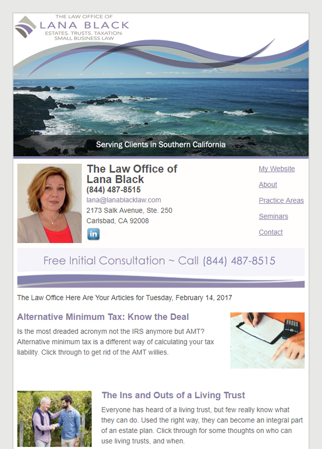 Email Newsletter Example From Our Clients At Carney, Roy and Gerrol, P.C.