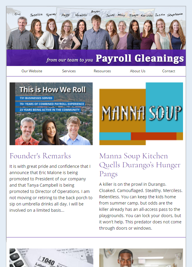 Payroll Newsletter Example From Our Clients At The Payroll Department