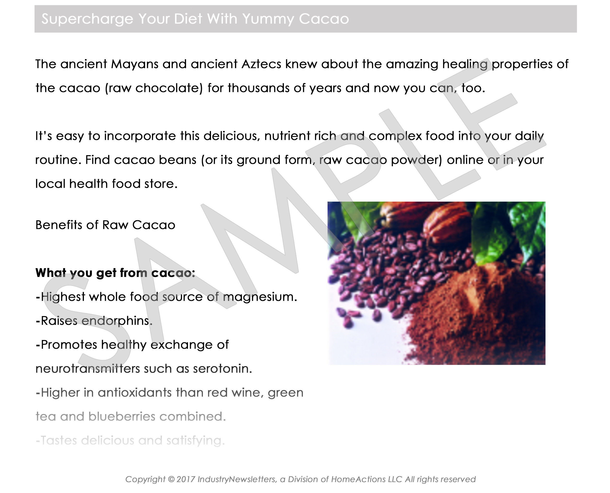 Health & Wellness Health Benefits Of Superfoods Like Cacao Article Preview For Your Email Newsletter