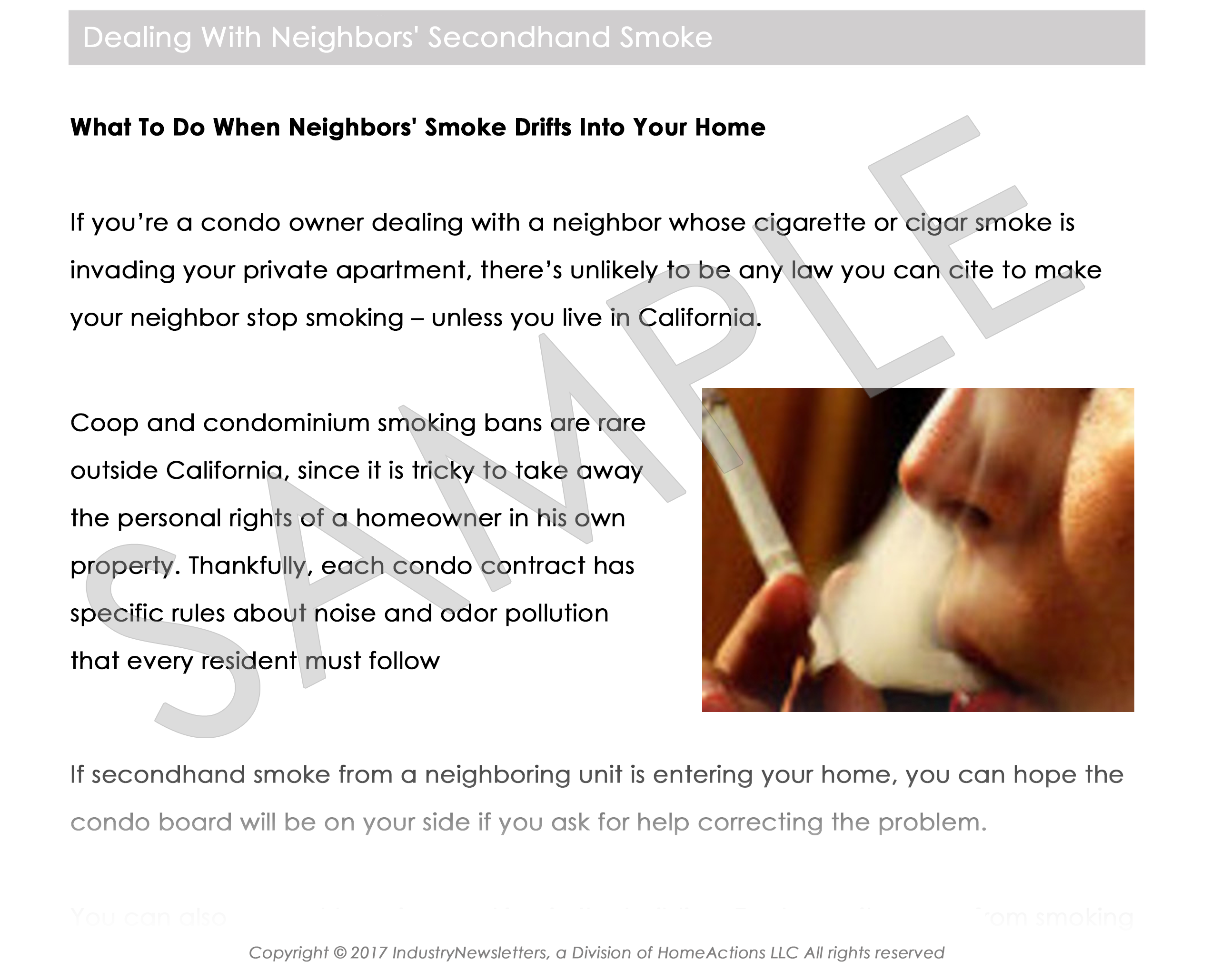 Health & Wellness Second Hand Smoke Article Preview For Your Email Newsletter