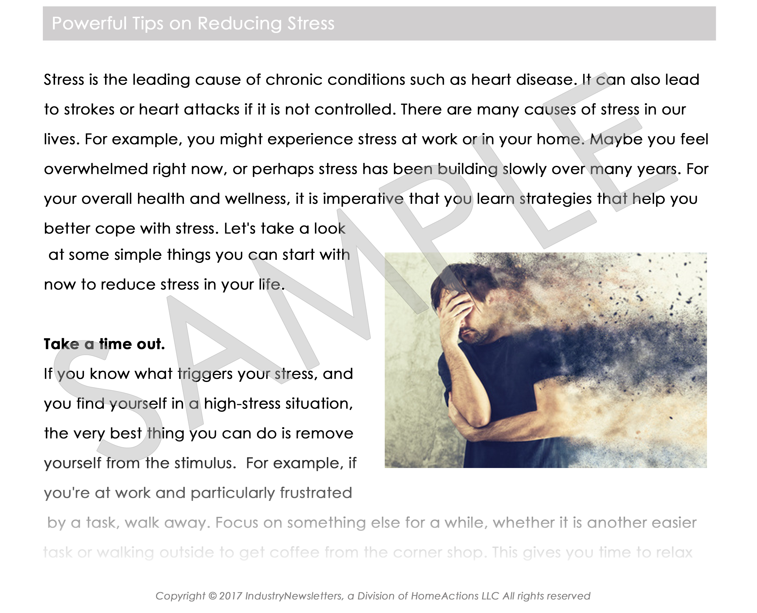 Health & Wellness Stress Management Article Preview For Your Email Newsletter