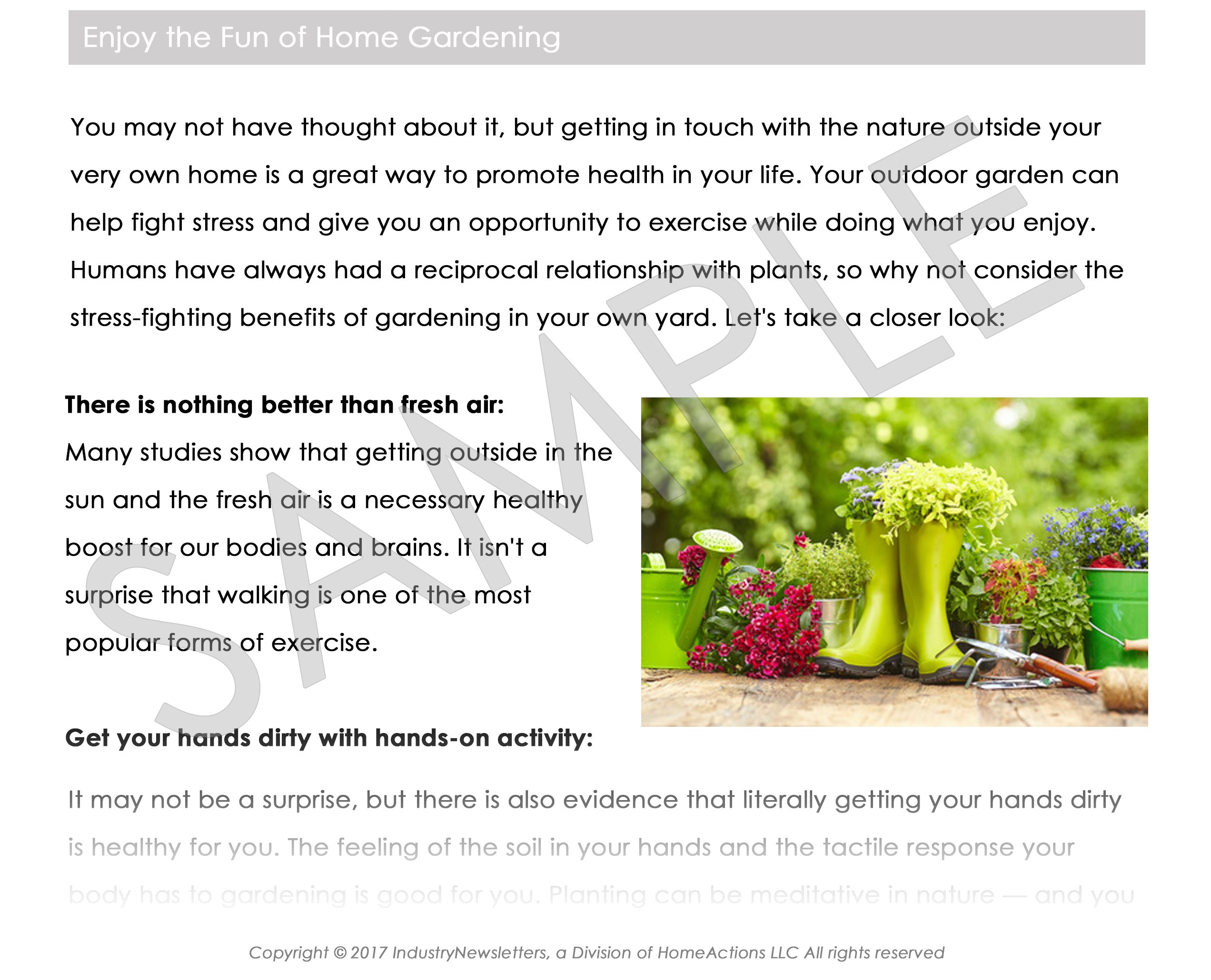 Health & Wellness Gardening Article Preview For Your Email Newsletter