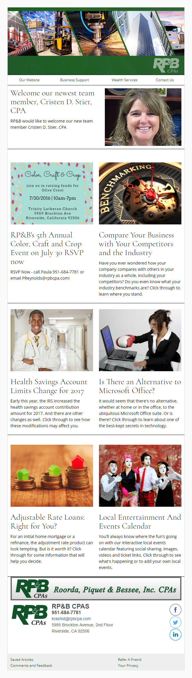 RP&B CPAs - IndustryNewsletters Sample Email Newsletter