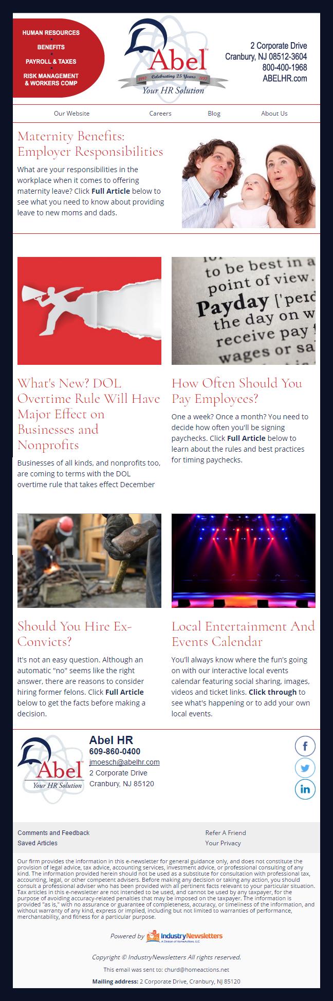 Abel HR Services - IndustryNewsletters Sample Email Newsletter