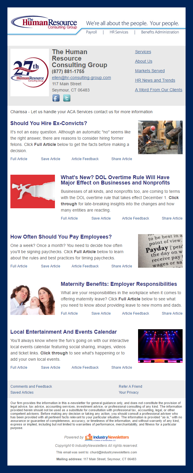 The Human Resource Consulting Group - IndustryNewsletters Sample Email Newsletter