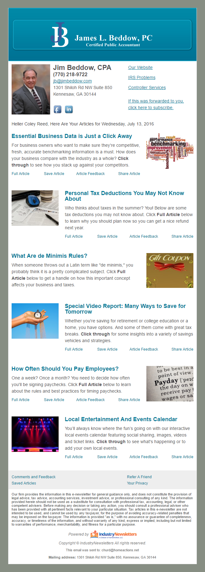 James L. Baddow, P.C. - IndustryNewsletters Sample Email Newsletter