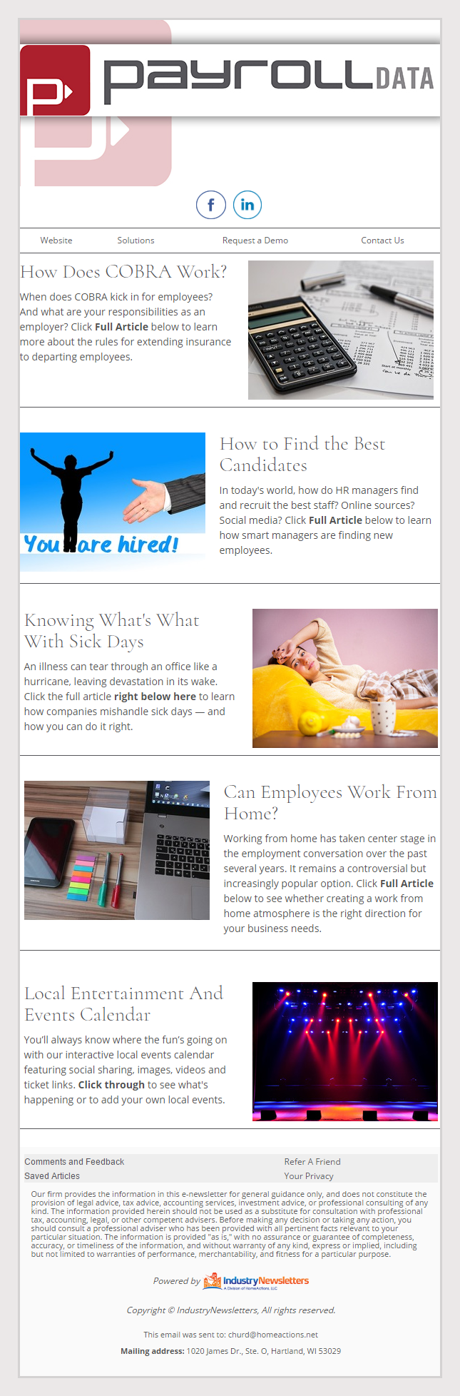 Payroll Data - IndustryNewsletters Sample Email Newsletter