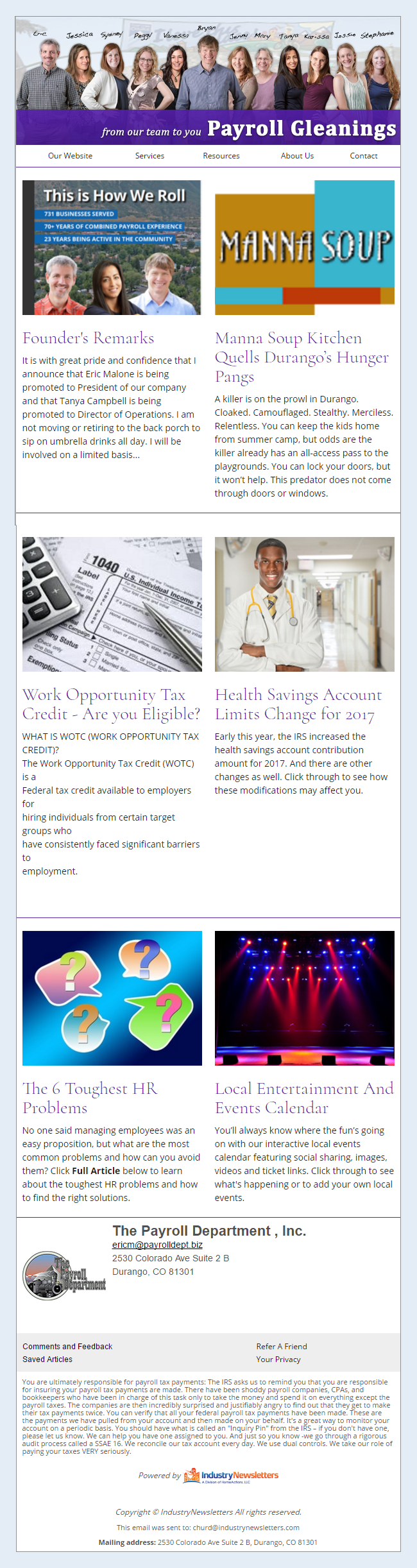 Payroll Department - IndustryNewsletters Sample Email Newsletter