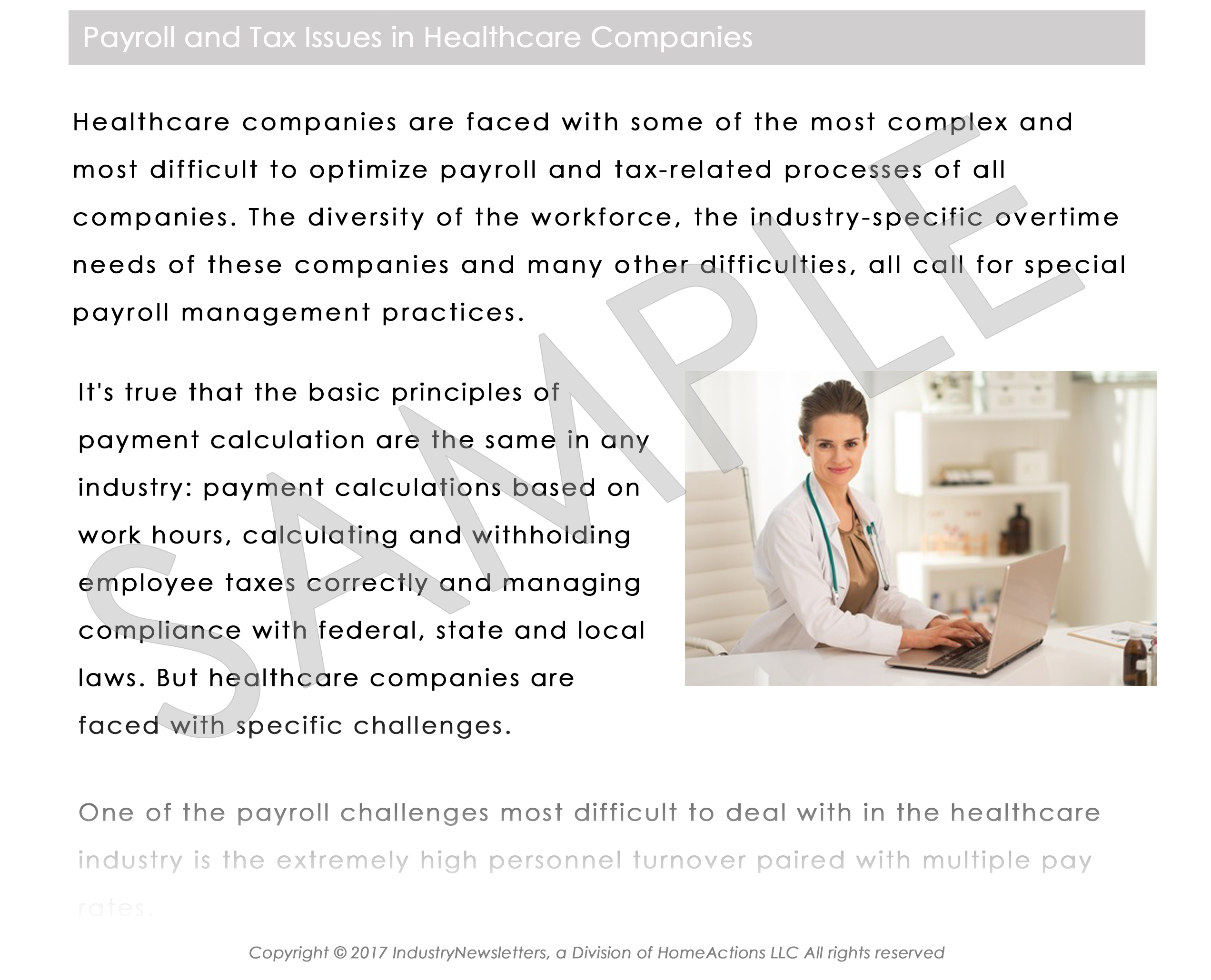 Healthcare Article Preview For Your Payroll Newsletter