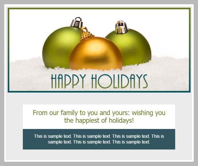 OnTarget Happy Holidays Email Blast Template Example