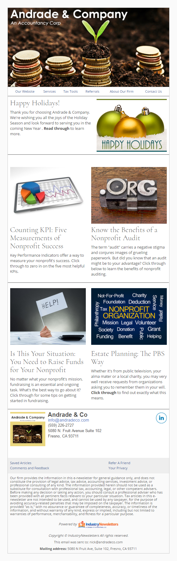 Andrade & Company - IndustryNewsletters Sample Email Newsletter
