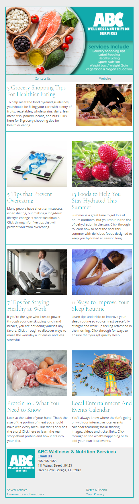 ABC Wellness And Nutrition Services - IndustryNewsletters Sample Email Newsletter