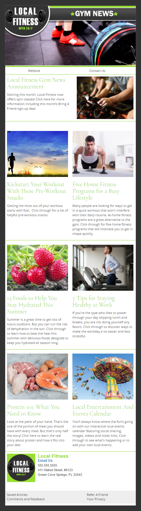 Local Fitness - IndustryNewsletters Sample Email Newsletter