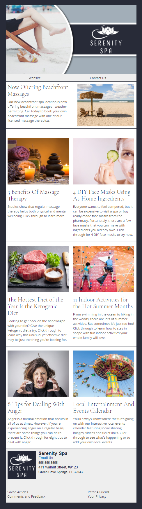 Serenity Spa - IndustryNewsletters Sample Email Newsletter