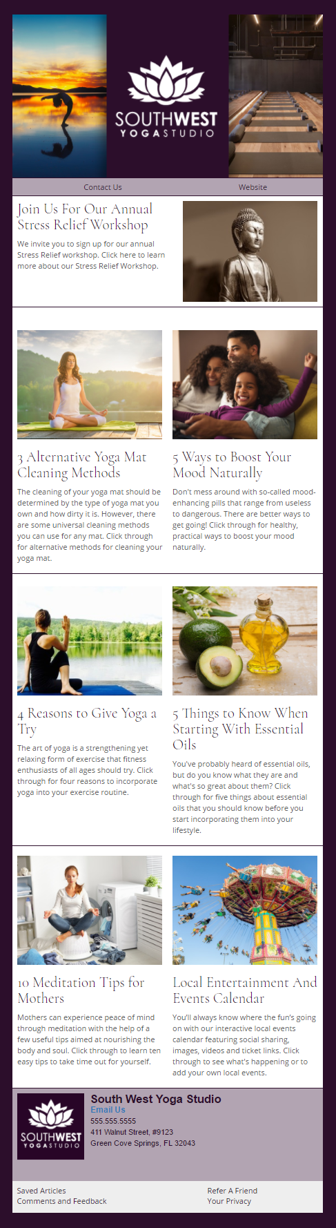 SouthWest Yoga Studio - IndustryNewsletters Sample Email Newsletter