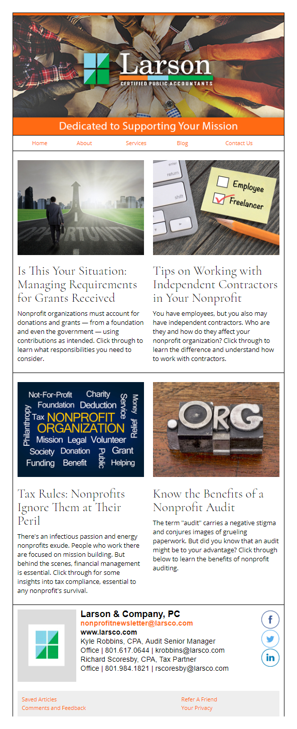 Larson CPAs - IndustryNewsletters Sample Email Newsletter