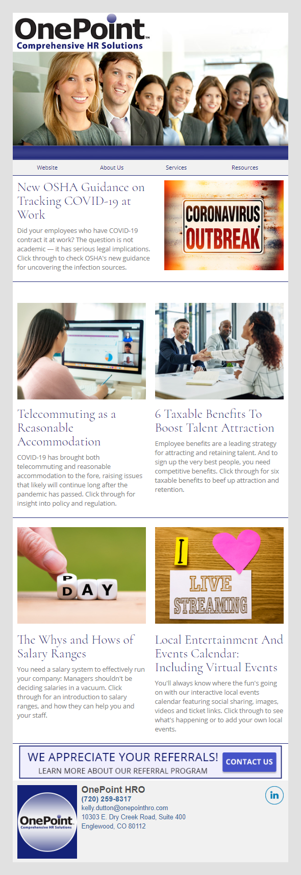 OnePoint Comprehensive HR Solutions - IndustryNewsletters Sample Email Newsletter